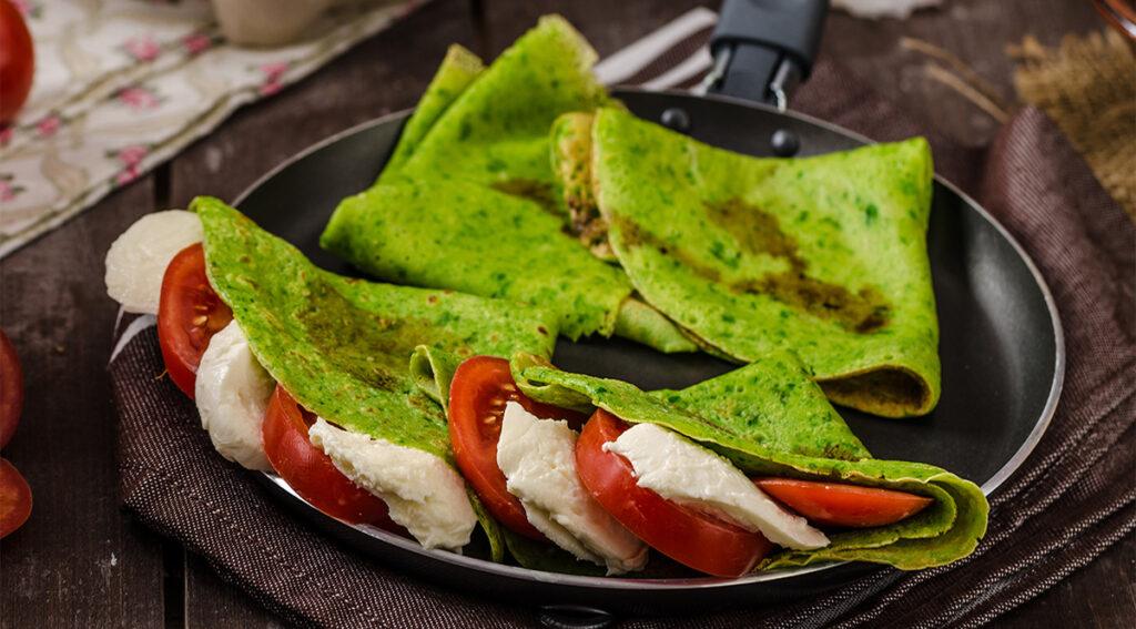 Le crepes agli spinaci light per una cena leggera e gustosa. Solo 80 Kcal!
