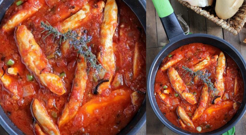 Straccetti di pollo alla puttanesca, una ricetta light e gustosa per chi è a dieta. Solo 230 Kcal!