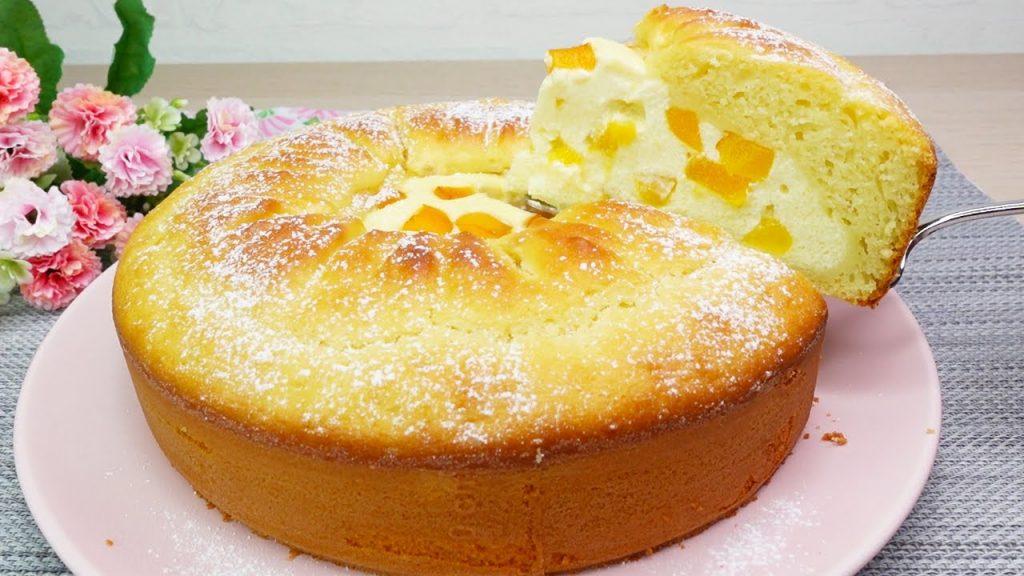 La torta con cuore morbido all'albicocca, fresca e con poche calorie. Solo 160 Kcal!