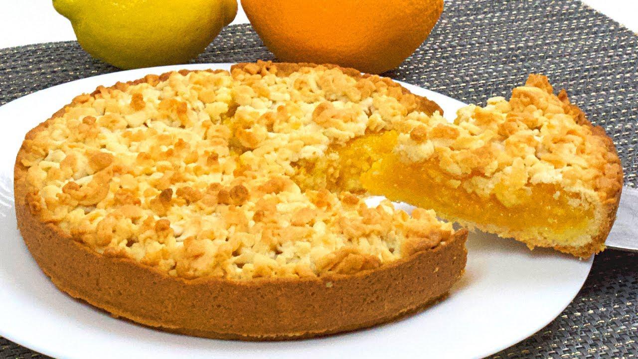 Torta ripiena di crema al limone e arancia