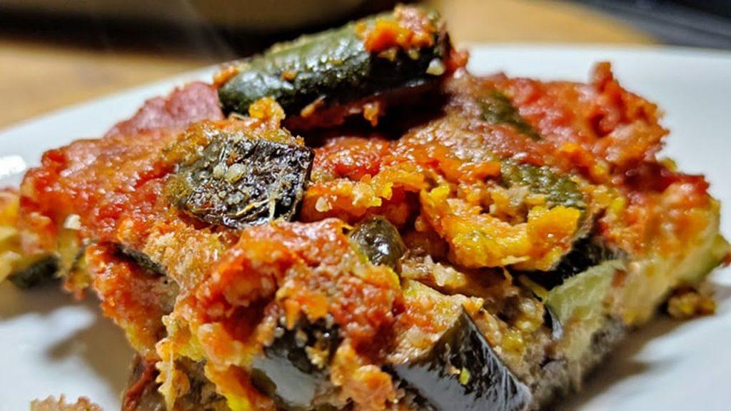 La lasagna di pane carasau e verdure, un'alternativa che vi fa perdere peso. Solo 180 Kcal!